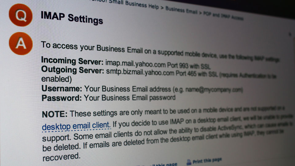 Yahoo-Small-Business-IMAP