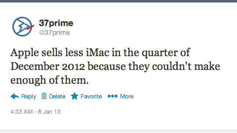Apple iMac December 2012 Tweet