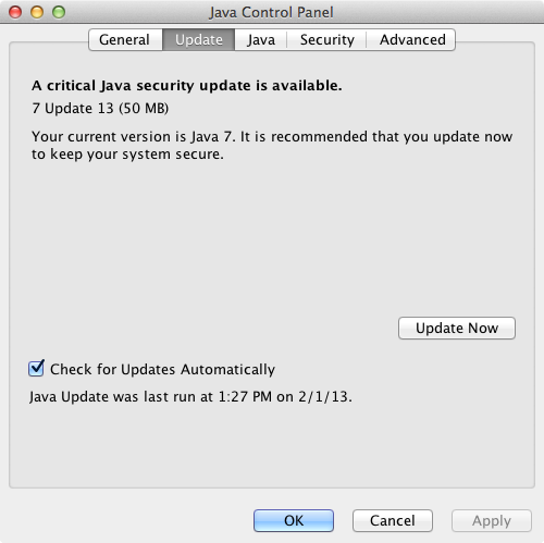 Java 7 Update 13 Control Panel