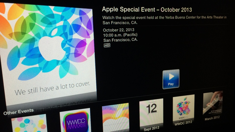 Apple Special Event October 2013 on Apple TV