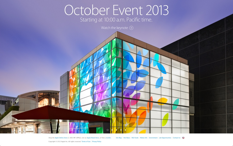 Apple Special Event October 2013 on Apple Website