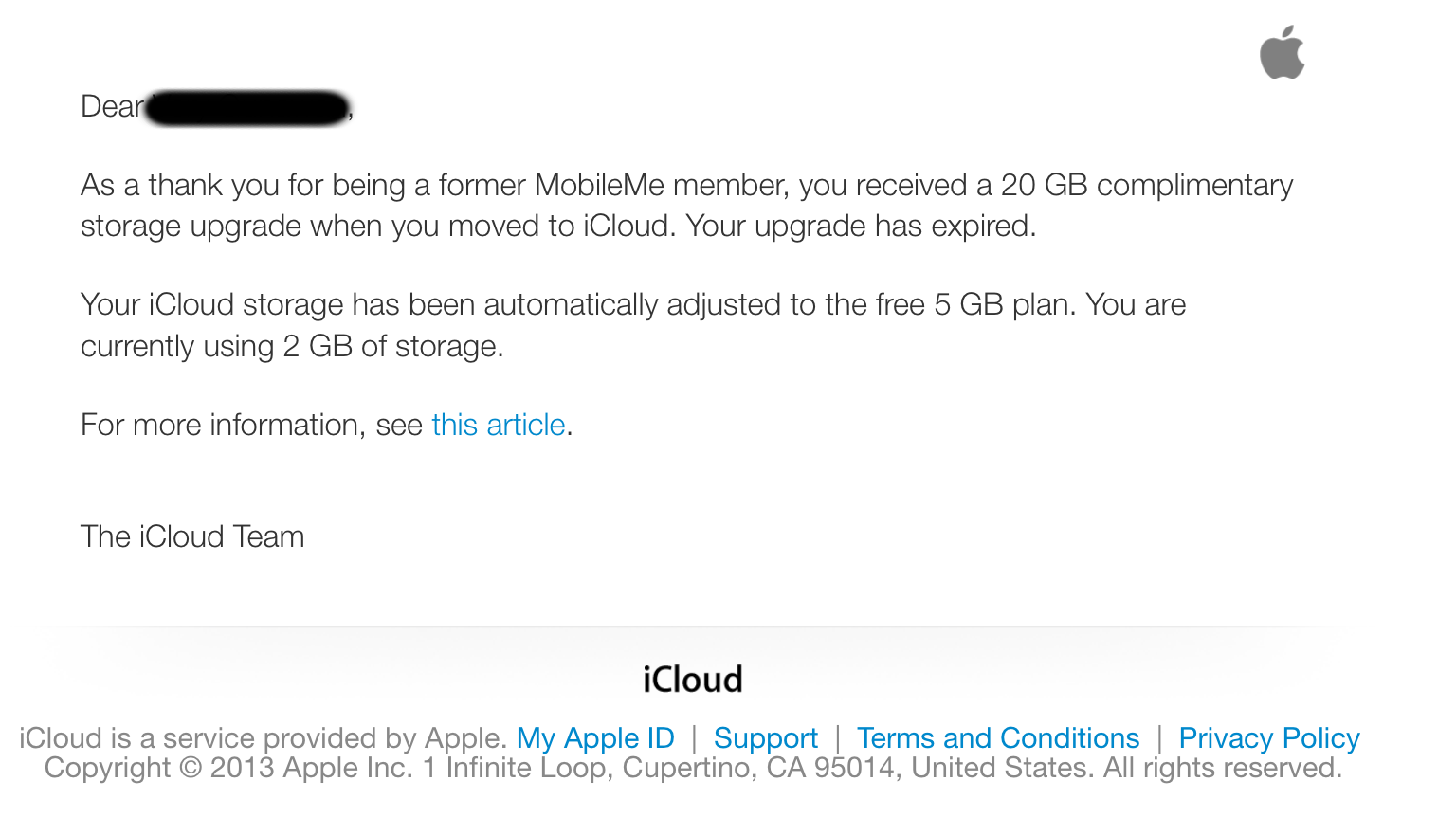 MobileMe Complimentary Storage has ended