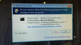 Windows UAC loading Malware