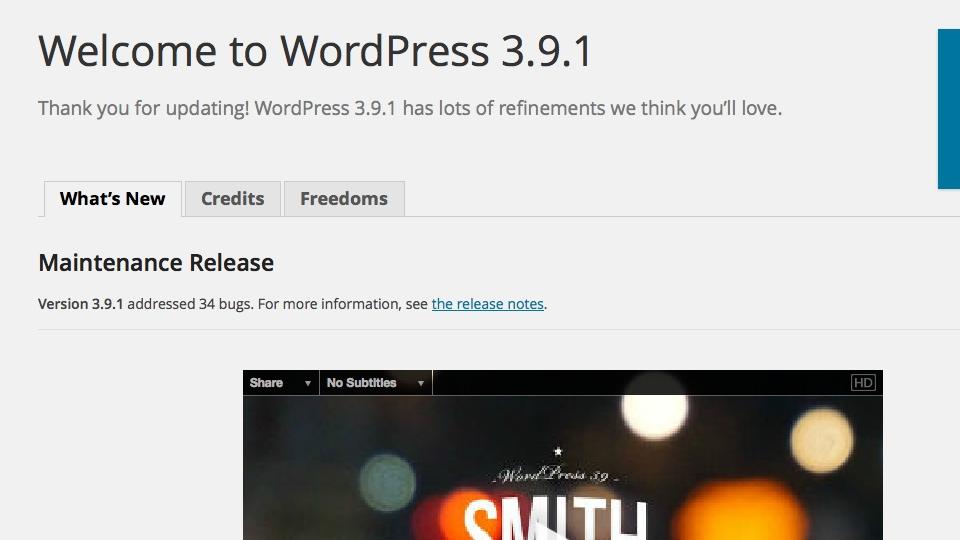 WordPress 3.9.1 Maintenance Update