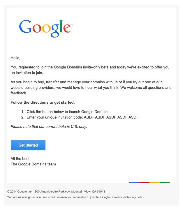 Google Domains Invitation