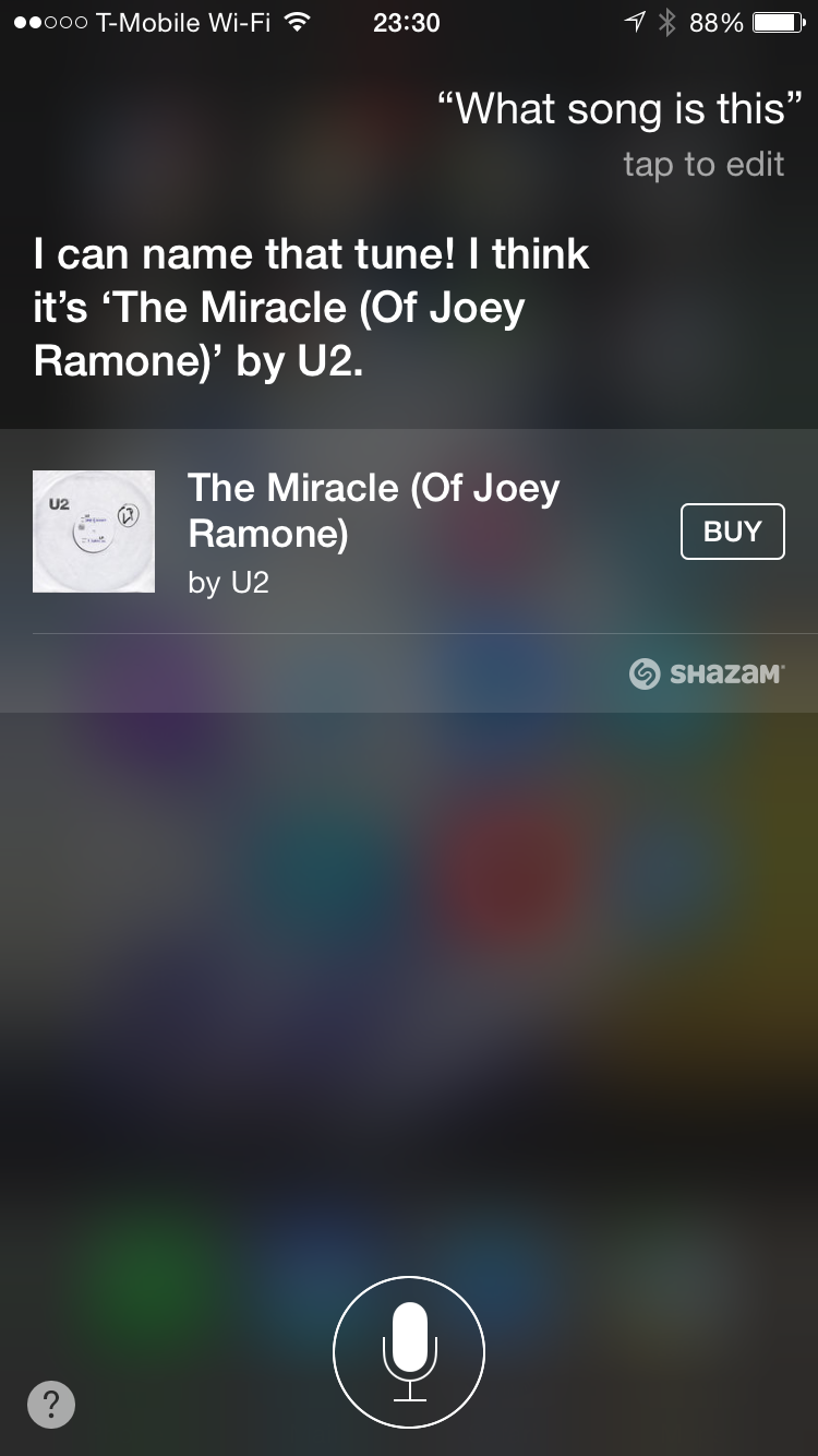 Siri Listening to Song