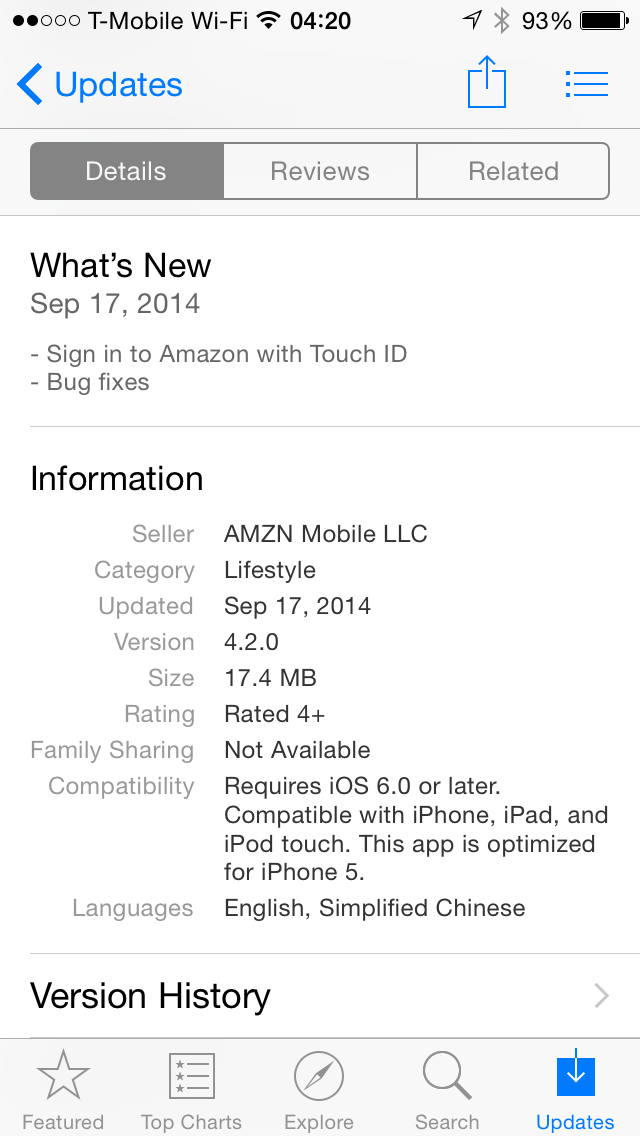 Amazon App with Touch ID