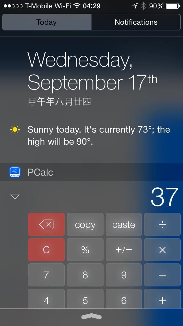 PCalc in iOS 8 Widget Area
