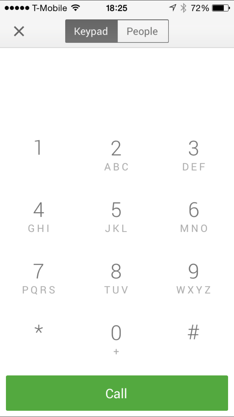 Google Hangouts 2.2.0 Dialer iPhone 6