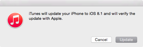 iOS 8.1 Update via iTunes