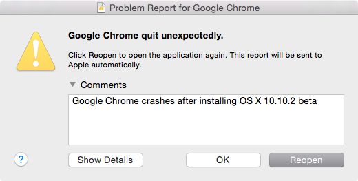 Google Chrome Crases in OS X 10.10.2 beta build 14C68k