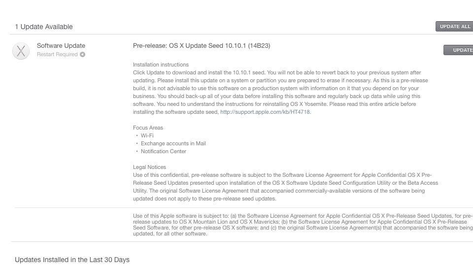 OS X Update Seed 10.10.1 14B23