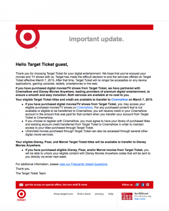 Target Ticket Shuts Down