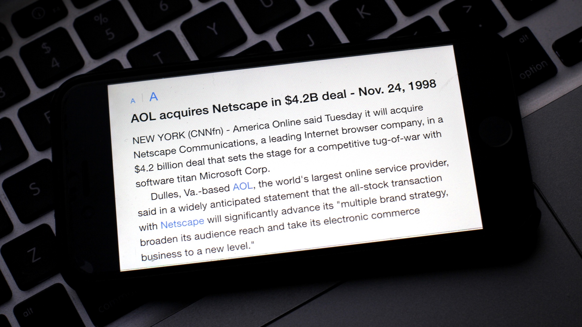 AOL Acquires Netscape 4.2 Billions 19981124