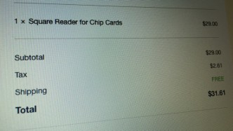 Square Reader for Chip Cards Order Shipped