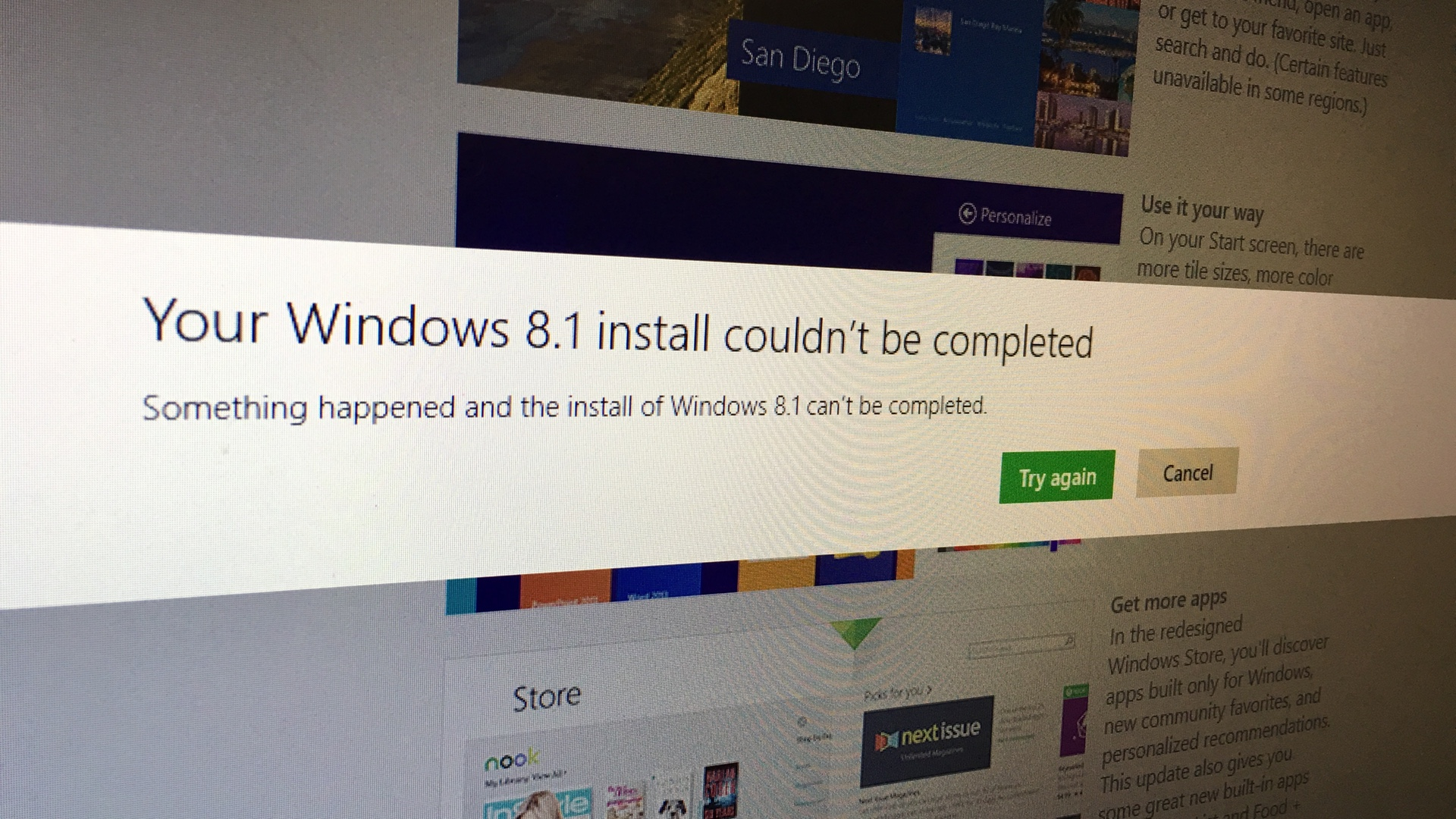 Windows 8.1 Install could not be completed