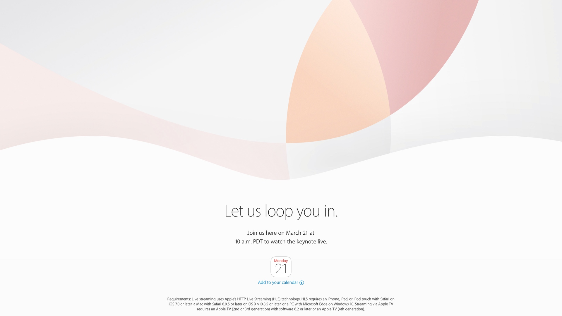 Apple Let us loop you in Event