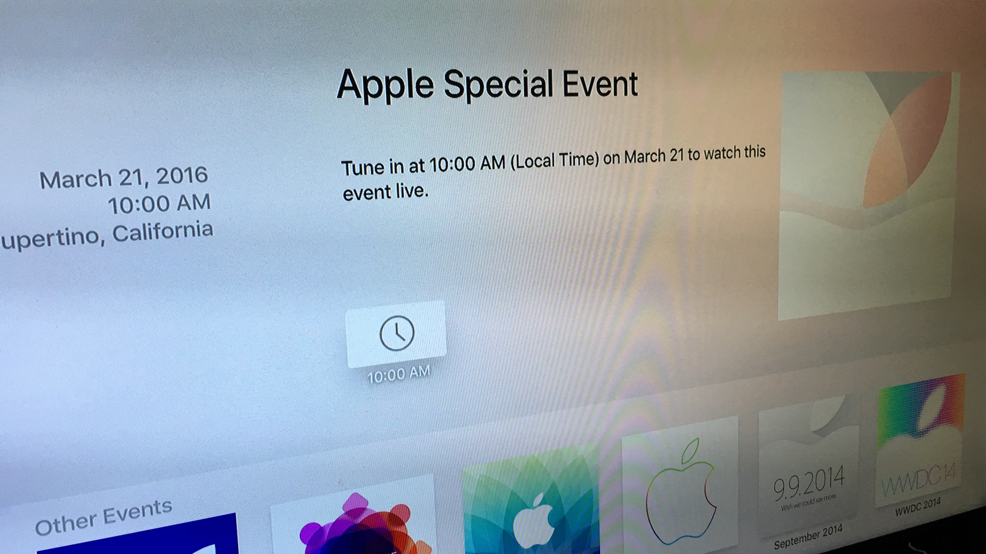 Apple March 21 2016 Special Event on Apple TV
