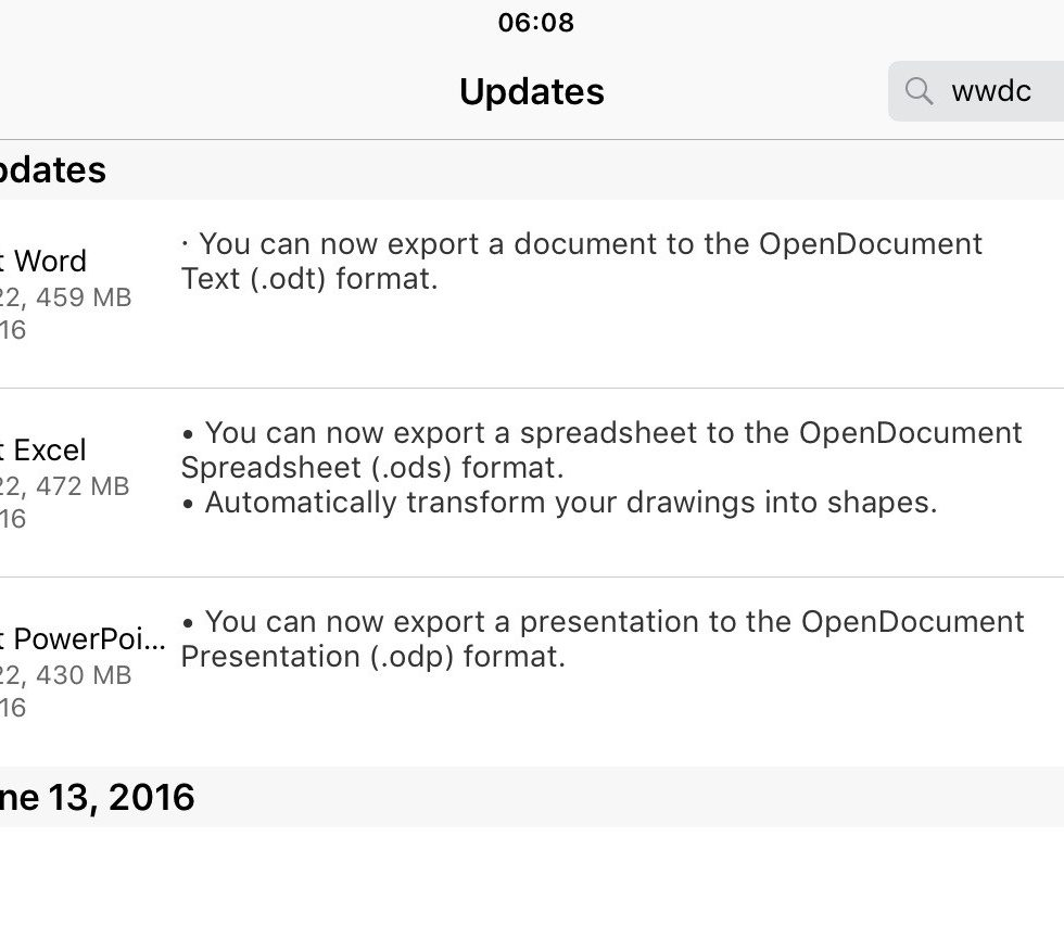 Microsoft Office for iOS supports OpenDocument Format