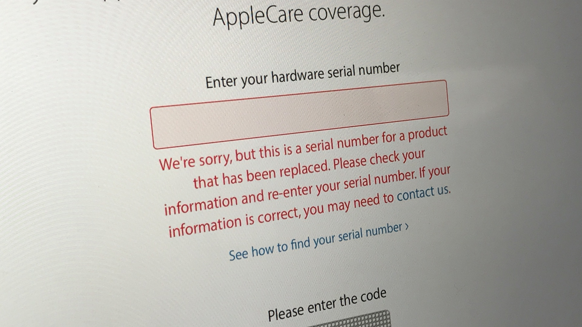 apple serial number has been replaced